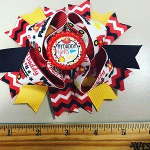 Firefighter hair bow